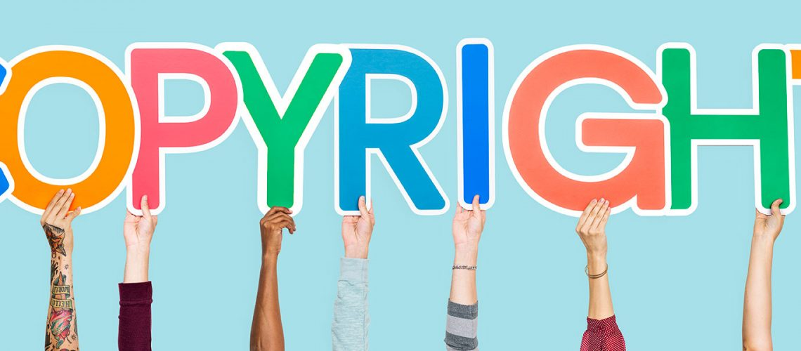 Colorful letters forming the word copyright
